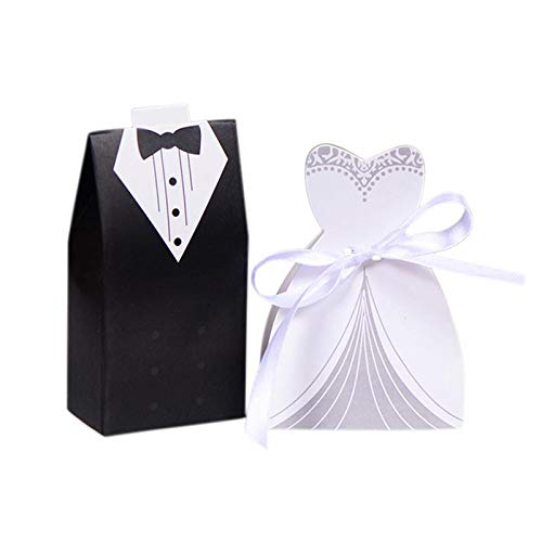 Bags & wrapping supplies - 100pcs wedding decoration candy box four kinds dresses pattern black and white suit european style - box wrapping bags bride wedding favor box box wooden box money