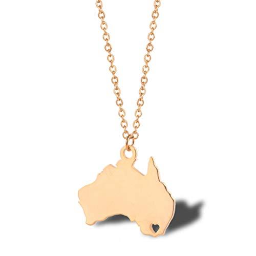 australische Nationale topographische Karte Halskette Geometrie, Damen Schlüsselbein Kette Titan Stahl Anhänger,Rosegoldnecklace ()