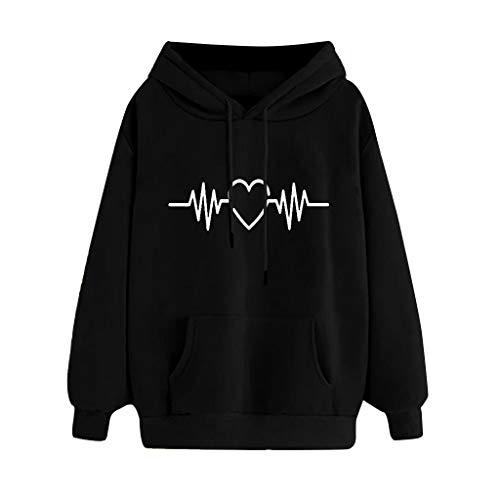 FOTBIMK  Sweat Stranger Thing Femme avec Capuche Pas Cher-Sweat Shirt Femme Coeur Imprimé Pullover-Hooded Sweatshirt-Pullover Femme avec Manches Longues Noir M