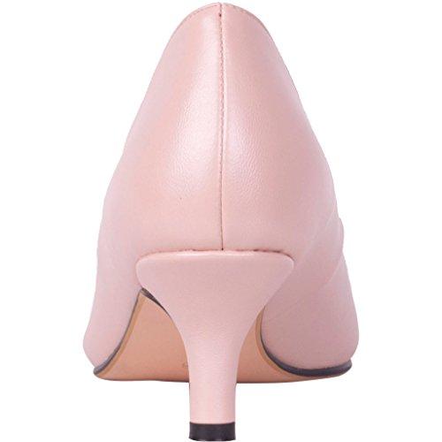 Calaier Damen Cahalfway 5.5CM Stiletto Schlüpfen Pumps Schuhe Pink
