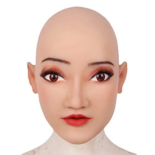 HSNC Weiche Silikon Realistische Weibliche Kopf Crossdresser Maske Handgemachte Make-Up Transgender Maske Halloween Cosplay Maske
