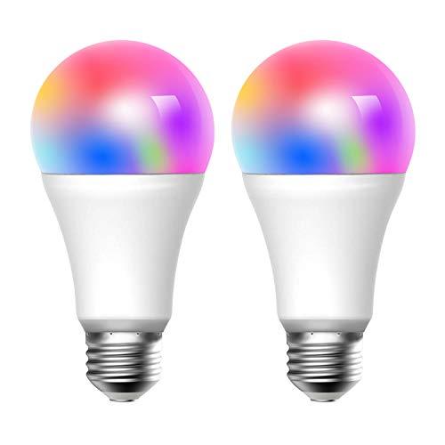 meross Wifi Lampadina LED Smart Intelligente E27 Dimmerabile 9W equivalente a 60W, App Controllo Remoto, Funziona con Amazon Alexa, Google Home e IFTTT, 2 Pezzi MSL120