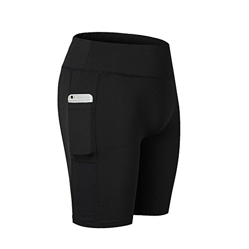 SwissWell Damen Joggen Shorts Sport Kurze Leggings Fitness Tights Yoga Shorts Kurze Hosen Mesh Radlerhose Hot Pants Hipster Workout mit Taschen Schwarz L