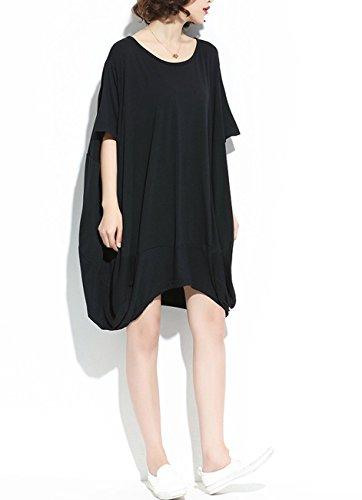 ELLAZHU Damen Midi Mode Saum Einfarbig Übergröße T-shirt GA200 Schwarz