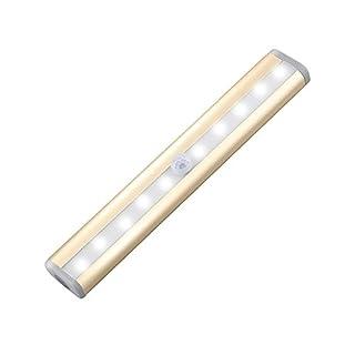 LED Schrankbeleuchtung, AmyTech 10 LED Schranklicht mit PIR Sensor Nachtlicht mit Bewegungsmelder batteriebetriebene Wandleuchte für Schlafzimmer, Küche, Gang, Schubfach, usw. (Golden-Kaltweiß)