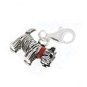 Charms Anhänger 925 Silber für Bettelarmband Hund mit rotem Halsband von Collangé Jewelry®