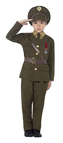 (Smiffys Kinder Armee Offizier Kostüm, Jackett mit befestigtem Gürtel, Hose, Hemdattrappe, Krawatte und Hut, Größe: L, 27536)
