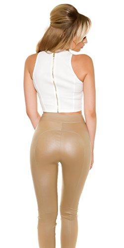 Atemberaubendes Crop-Top im Leder-Look mit Rücken-Zipper Weiß