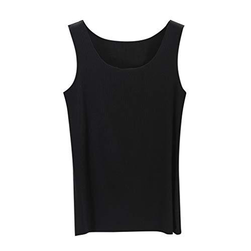 (CAOQAO Wild Casual äRmellos Einfarbig LäSsig Atmungsaktiv Schlank Gestreiftes, Nahtloses Weste-Shirt(Schwarz,XL))