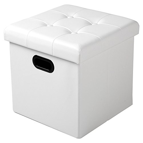 WOLTU Sitzhocker Sitzwürfel Fußhocker mit Stauraum Aufbewahrungsbox Truhen Faltbar, Deckel Abnehmbar, mit Griffe, Gepolsterte Sitzfläche aus Kunstleder, 37,5 * 37,5 * 38CM, Weiß, SH15ws