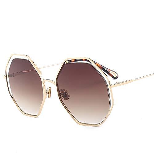 YCZZ Sonnenbrille Europäische Und Amerikanische Modeschöpfer Trend Hundert Gläser Golden Frame Tea Slices c2 Sonnenbrillen