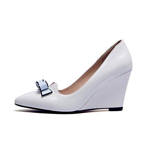 VogueZone009 Femme Verni Fermeture D'Orteil Pointu à Talon Haut Tire Couleur Unie Chaussures Légeres Blanc