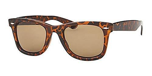 Eyewear World Sonnenbrille, Schildkröten-Design, braune Gläser, mit gelber Kordel