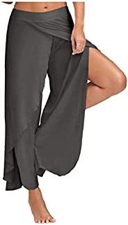 DressU Women's Pure Color Slit Style Muscle Chic Soft Yoga Sports Palazzo P