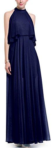 YOGLY femmes Lady Elegant Robe de soirée en Chiffon col rond Cocktail Robe Epaule nu Vintage Swing Robe Bleu foncé