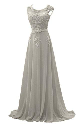 Gorgeous Bride Modisch Lang Rundkragen A-Linie Chiffon Tuell Spitze Schleppe Abendkleider Festkleider Ballkleider Grau