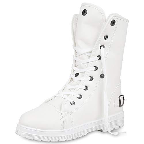 SCARPE VITA Warm Gefütterte Damen Stiefeletten Worker Boots Outdoor Schuhe 165344 Weiss Schnallen 39
