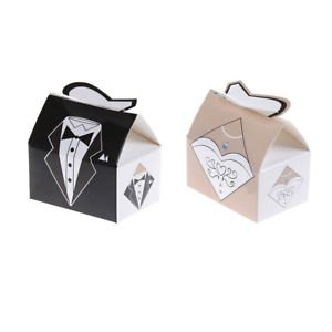 SLB Works Brand New 50pair Fashion Bride Groom Ribbon Candy Box Party Wedding Favor Gift Box Hot!