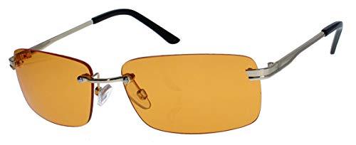 amashades Vintage Classics Schmale randlose Sonnenbrille Damen Herren Designer Stil Metallgestell RW78 (Gold/Orange)
