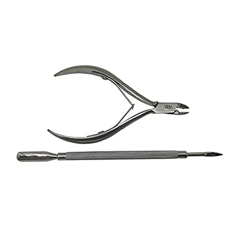 Viba Stainless Steel Cuticle Nippers and Cuticle Pushers Starter Set for Home Users. Manicure Pedicure Set. Double Spring, 4mm Jaw Nippers and Double-Ended Cuticle Pusher 106