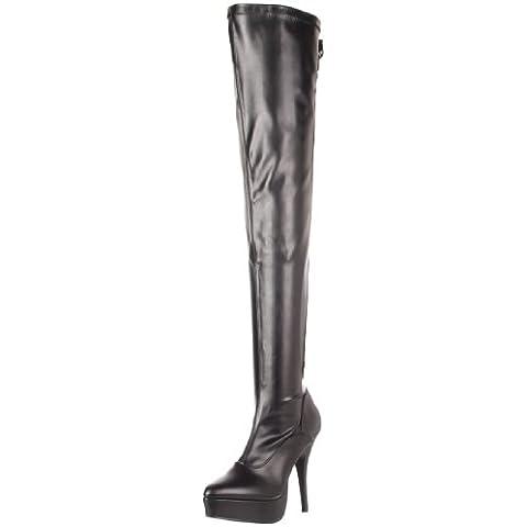 Devious Indulge 3063 - Stivali sopra coscia (cuissarde) con laccetti