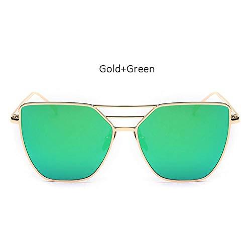 Chudanba Damenmode Cat Eye Sonnenbrille Frauen Neue Sonnenbrille Weibliche Shades UV400,Gold Green
