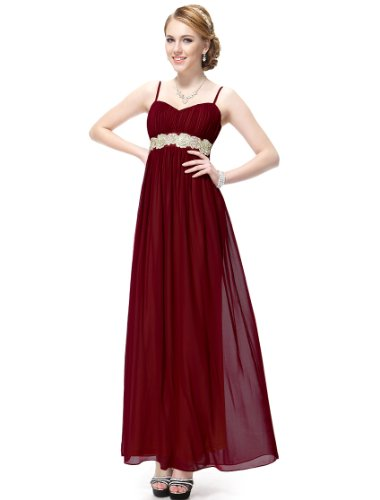 Ever Pretty Long Chiffon and Spaghetti Straps Cocktail Dress 09675 - Red - 12