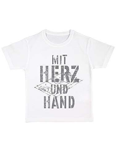 clothinx Kinder Bio T-Shirt Handball Herz Und Hand Weiß Gr. 92 - Herz Bio-kinder-t-shirt