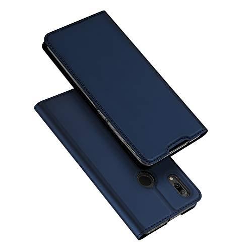 DUX DUCIS Hülle für Huawei P Smart 2019, Leder Flip Handyhülle Schutzhülle Tasche Case mit [Kartenfach] [Standfunktion] [Magnetverschluss] für Huawei P Smart 2019 (Blau)