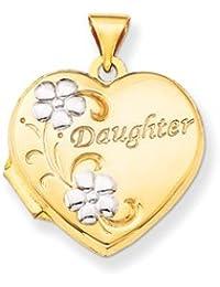 14k & Rhodium Daughter Floral 18mm Heart Locket by UKGems