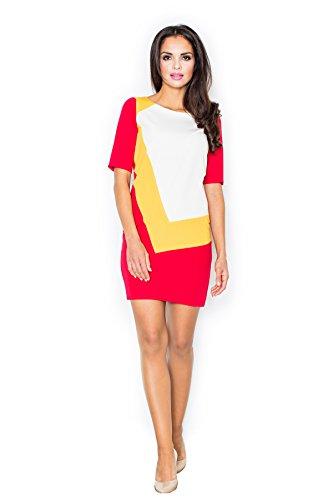 Robe tunique sensationnelle jeu asymétrique de couleurs Figl Rouge