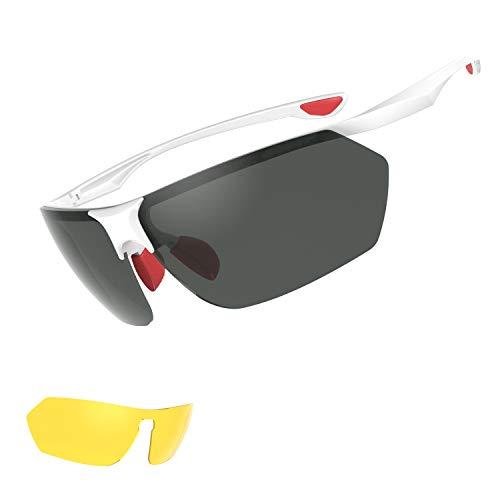 VADETURE Polarisierte Sportbrille,UV400,Ultraleichte und super passende Sonnenbrille, Anti-Schock, Augenschutz und Blendschutz, Sonnenbrille mit austauschbaren Linse für Autofahren, Laufen, Reiten