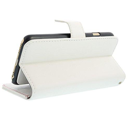 Kunstleder Tasche für iPhone 6 Plus / 6S Plus - Schwarz + Schutzfolie Weiß 3