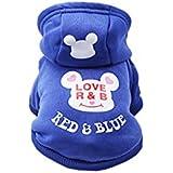 TBOP Dog Clothes Hooded Dog Sweater Cartoon pet Clothing Supplies Sportswear (Dark Blue_L)