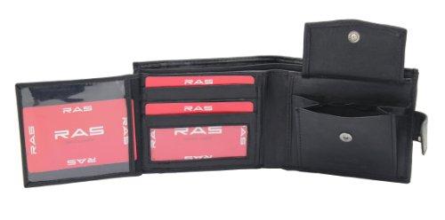 Men's High Quality Luxury Soft Black Leather Tri Fold Wallet - Id Window - Credit Debit Card Holder - Coin Pocket (Black)