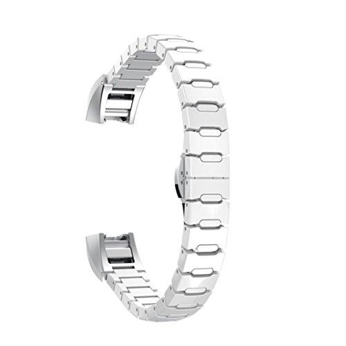 Preisvergleich Produktbild Sansee Ceramic Butterfly Closure Strap Ersatz Armband für Fitbit Alta HR / Fitbit Alta / Keramik Schmetterling Wölbung Armband (weiß)
