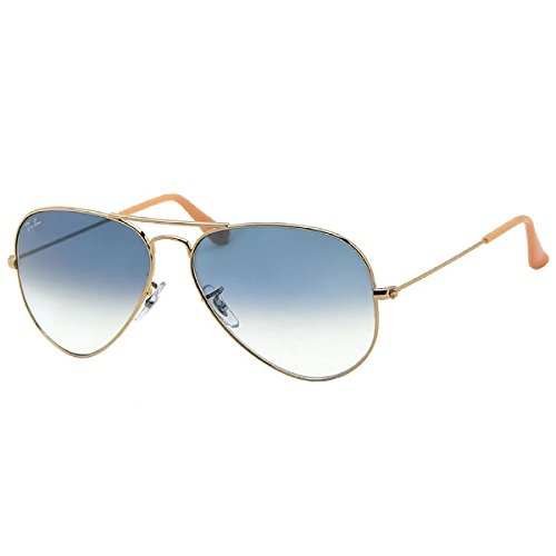 Ray-Ban RB3025 001/3F Aviator Non-Polarized Sunglasses, Gold Frame/ Blue Gradient Lens, 55mm  available at amazon for Rs.6890