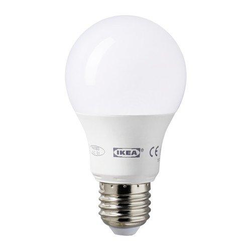 IKEA ledare–Bombilla LED E27, 400lúmenes, 6,3W, esfera blanca, 2unidades