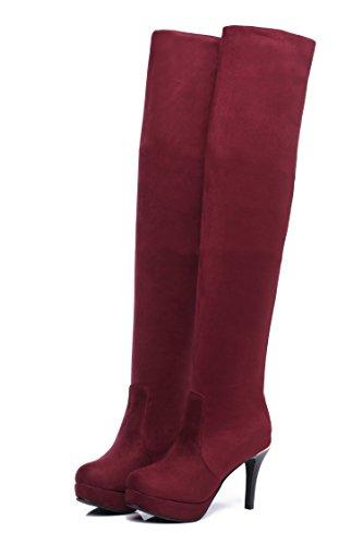 Qin & X Â Sandales À Talons Hauts Pour Femme Au Genou Chaussures Rouges