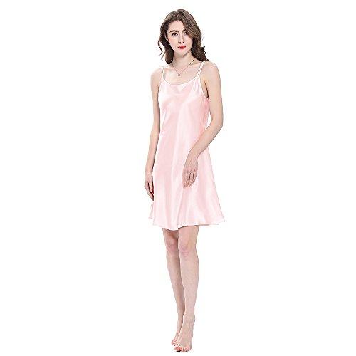 Seide Nachtkleid (LilySilk Bezaubernd Seide Nachthemd Nachtkleid Nachtwäsche Damen Mini Kurz 16 Momme (S, Hell Rosa) Verpackung MEHRWEG)