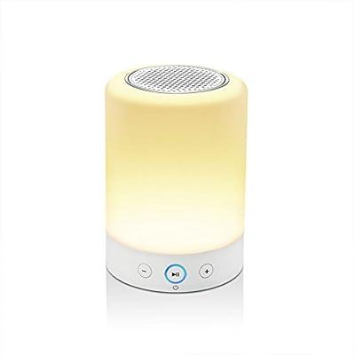 LIGHTSTORY Wireless Bluetooth Speaker, Portable Touch Sensitive Night Light, RGB Color Changing LED Desk Lamp, Hands-free Speakerphone