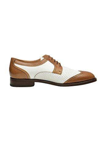 SHOEPASSION.com , Chaussures de ville à lacets pour homme Blanc Blanc Marron