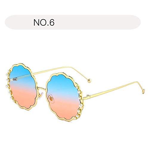 XHCP Frauen polarisierte Klassische Flieger-Sonnenbrille, Frauen polarisierte Sonnenbrille-Blumen-Form-treibende Gläser Eyewear-Perlen-Verschönerungs-Schutzbrille UV400 (Farbe: NO.6, Größe: Freie