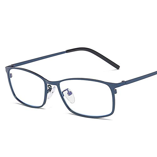 Easy Go Shopping Mode Anti Blue Computer Schutzbrille Männer Business Square Frame Metall Plain Gläser Sonnenbrillen und Flacher Spiegel (Color : Blau, Size : Kostenlos)