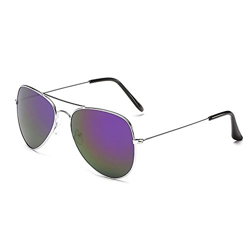 Eye-nak Sonnenbrille Fliegerbrille Brille in vielen Farben Klassische Pilotenbrille Verspiegelt Unisex Sonnenbrille Damen Herren Pornobrille Sonne Sommer (C11 - Rahmen Silber - Glas Lila verspiegelt)