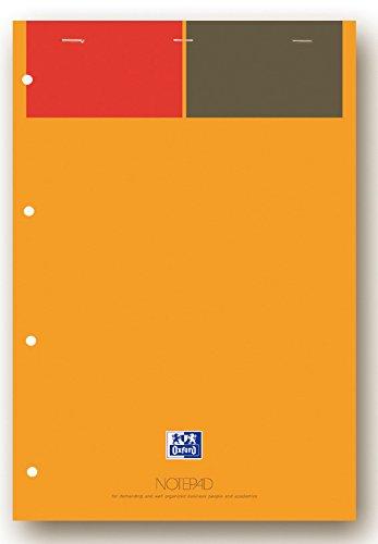 Oxford 100102359 International Notepad, A4+, liniert 6 mm / 4-fach gelocht, 80 Blatt, Klammerheftung