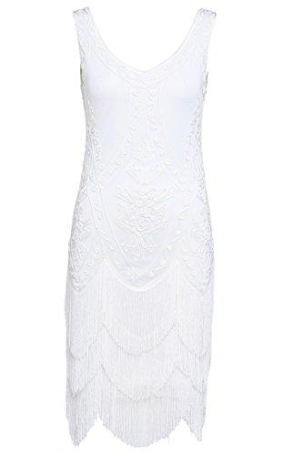 Babeyond Flapper-Kleider der Frauen 1920s wulstiges gesäumtes großes Gatsby Kleid (Beschriftung M / UK12-14 / EU 40-42, Schwarz und Gold) (Beschriftung S / UK8-10 / EU36-38) (Der Große Gatsby Kleider)