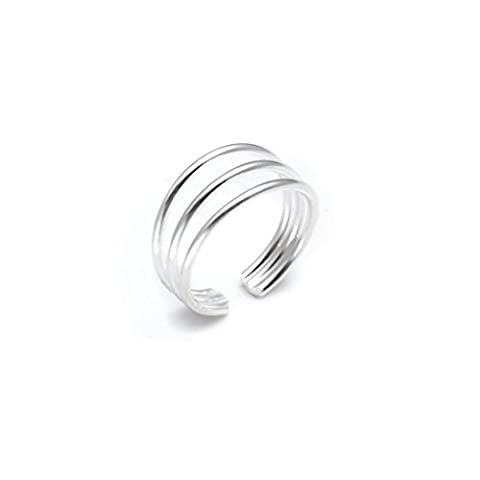 Silverly Women's .925 Sterling Silver Three Band Adjustable Polished Toe Ring
