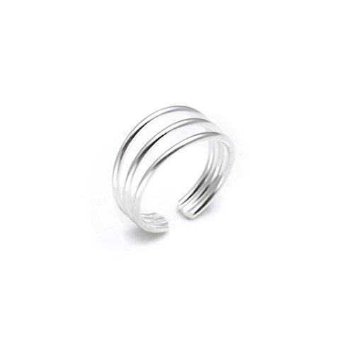 Silverly Frauen .925 Sterling Silber Drei Band justierbar poliert Zehenring