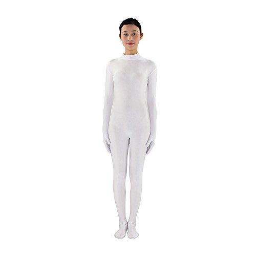 Anzug Spandex Weiße (Erwachsene Full Lycra Spandex Body Unitard Zentai Anzug ohne Kapuze,)